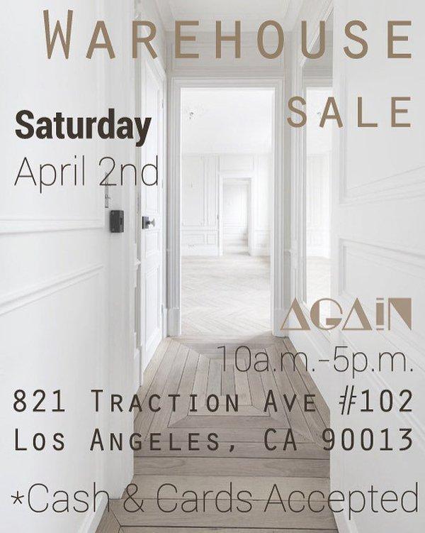 Again Warehouse Sale Los Angeles April 2016