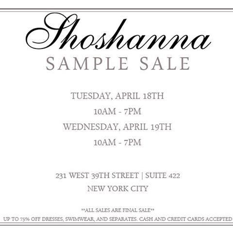 Shoshanna Sample Sale, New York, April 2017